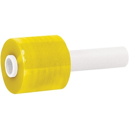 "Yellow Extended Core Bundling Hand Stretch Film, 80 Gauge, 3"" x 1000"