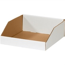 White Corrugated Bin Boxes, 12 x 12 x 4 1/2""