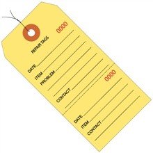 "4 3/4 x 2 3/8"" Yellow Pre-Wired Repair Tags"
