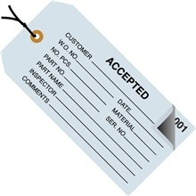 "Pre-Strung ""Accepted"" Inspection Tags, Blue, 4 3/4 x 2 3/8"""