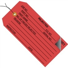 "Pre-Wired 2-Part Numbered ""Rejected"" Inspection Tags (000-499), Red, 4 3/4 x 2 3/8"""