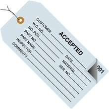 "Pre-Wired ""Accepted"" Inspection Tags, Blue, 4 3/4 x 2 3/8"""