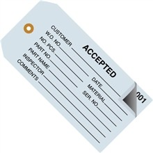 "2-Part Numbered ""Accepted"" Inspection Tags (000-499), Blue, 4 3/4 x 2 3/8"""