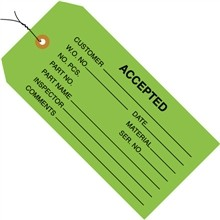 "4 3/4 x 2 3/8"" Green Pre-Wired Accepted (Green) Tags"