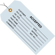 "4 3/4 x 2 3/8"" Pre-Wired Accepted (Blue) Tags"