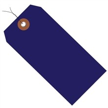 """Pre-Wired Blue Plastic Square Shipping Tags #8 - 6 1/4 x 3 1/8"""""""