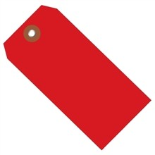"""Red Plastic Square Shipping Tags #5 - 4 3/4 x 2 3/8"""""""