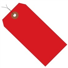 Pre-Wired Red Plastic Square Shipping Tags #5 - 4 3/4 x 2 3/8""