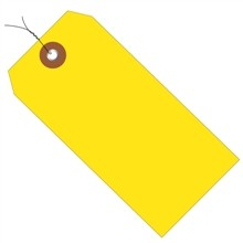 Pre-Wired Yellow Plastic Square Shipping Tags #5 - 4 3/4 x 2 3/8""