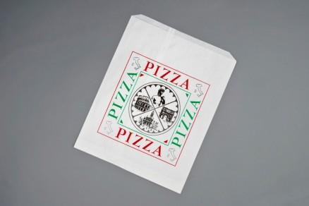 "White Printed Paper Pizza Bags, Quattro Design, 14 x 1 x 17"""