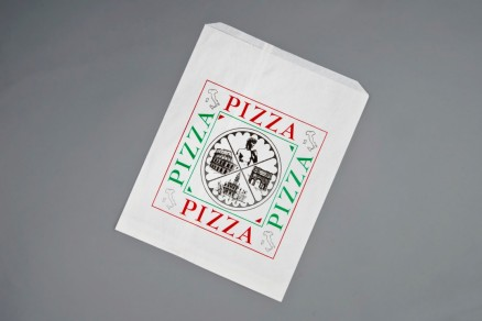 "White Printed Paper Pizza Bags, Quattro Design, 10 x 1 x 12"""