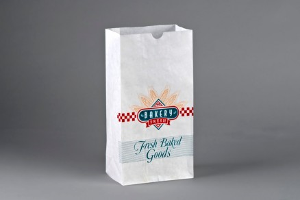 """Bakery Bags, Printed - Bakery Fresh - Teal, Brown, Red, Waxed, 6 5/8 x 3 7/8 x 13 1/8"""""""