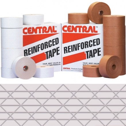 White Central® Economy Water Activated Kraft Sealing Tape, 72mm x 450