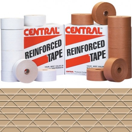 """Central® Industrial Water Activated Kraft Sealing Tape, 3"""" x 375"""