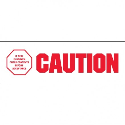 """Caution - If Seal Is Broken... Tape, 2"""" x 110 yds., 2.2 Mil Thick"""