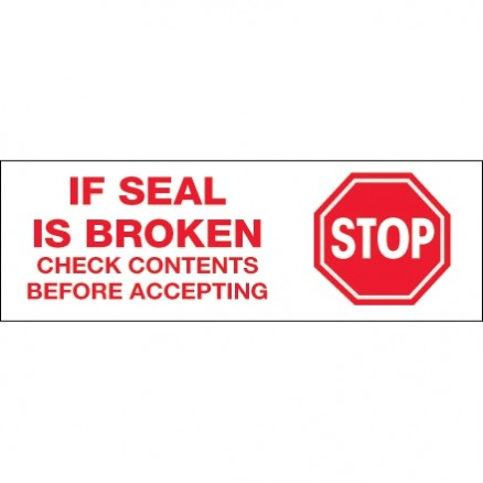 """Stop If Seal Is Broken... Tape, 3"""" x 110 yds., 2.2 Mil Thick"""