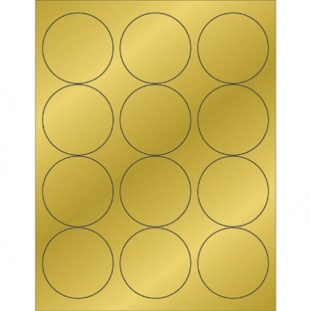Gold Foil Circle Laser Labels, 2 1/2""