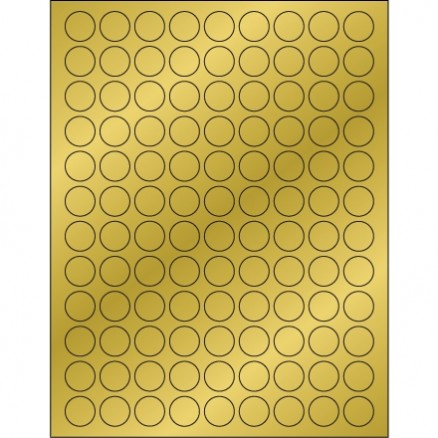 Gold Foil Circle Laser Labels, 3/4""
