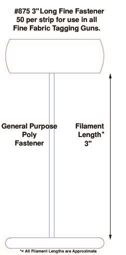 """Fine Fabric Poly Tagging Fasteners, 3"""""""