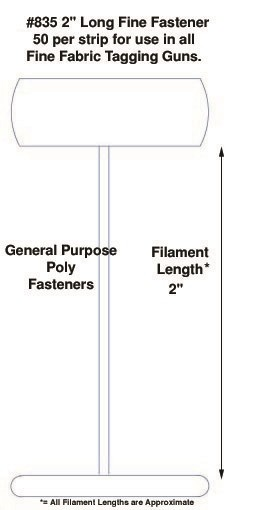 """Fine Fabric Poly Tagging Fasteners, 2"""""""