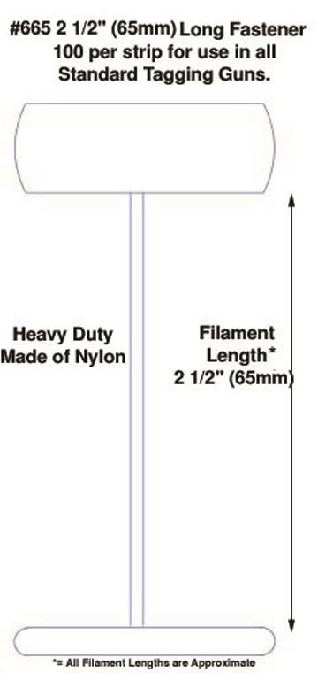 "Micro-Spaced Nylon Tagging Fasteners, 2 1/2"""