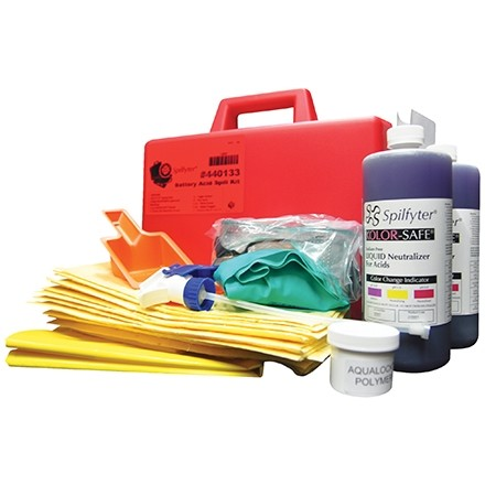 Battery Acid Spill Kit in Plastic Case, 1 Gallon