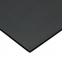 "Corrugated Plastic Sheets, 5 x 5"", Black"