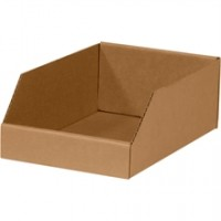 "12 x 12 x 4 1/2"" Kraft Open Top Corrugated Bins"