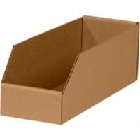 "4 x 12 x 4 1/2"" Kraft Open Top Corrugated Bins"