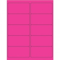 Fluorescent Pink Removable Rectangle Laser Labels - 4 x 2""