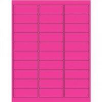Fluorescent Pink Removable Rectangle Laser Labels - 2 5/8 x 1""