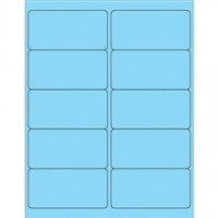Fluorescent Pastel Blue Removable Rectangle Laser Labels - 4 x 2""