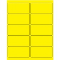Fluorescent Yellow Removable Rectangle Laser Labels - 4 x 2""