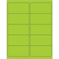 Green Removable Rectangle Laser Labels - 4 x 2""
