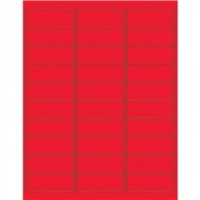 Fluorescent Red Removable Rectangle Laser Labels - 2 5/8 x 1""