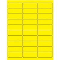 Fluorescent Yellow Removable Rectangle Laser Labels - 2 5/8 x 1""