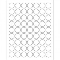 White Removable Circle Laser Labels, 1""