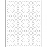 White Removable Circle Laser Labels - 3/4""