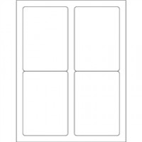 White Removable Rectangle Laser Labels - 3 1/2 x 5""