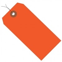 Pre-Wired Orange Plastic Square Shipping Tags #5 - 4 3/4 x 2 3/8""
