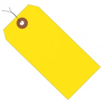 """Pre-Wired Yellow Plastic Square Shipping Tags #8 - 6 1/4 x 3 1/8"""""""