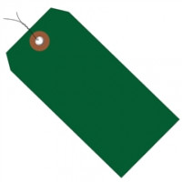 Pre-Wired Green Plastic Square Shipping Tags #5 - 4 3/4 x 2 3/8""