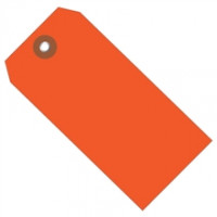 "Orange Plastic Square Shipping Tags #8 - 6 1/4 x 3 1/8"""