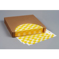 Yellow Checkered Dry Waxed Food Sheets, 12 x 12""