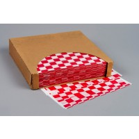 Red Checkered Dry Waxed Food Sheets, 12 x 12""