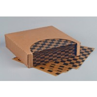 Black Checkered Dry Waxed Natural Kraft Food Sheets, 12 x 12""