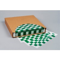 Green Checkered Dry Waxed Food Sheets, 12 x 12""