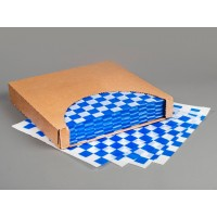 Blue Checkered Dry Waxed Food Sheets, 12 x 12""