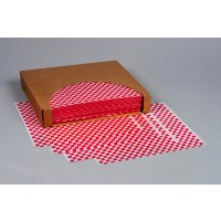 Red Checkered Dry Waxed Food Sheets, 12 x 10""