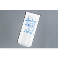 "White Printed Drinking Glass Bags, 3 1/2 x 1 1/2 x 7 3/4"" - 6 PK"